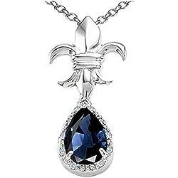 Pear Shape 8x6mm Genuine Sapphire Pendant Necklace 14kt Gold
