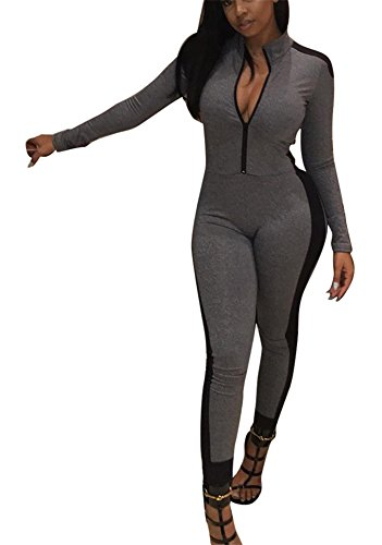 Speedle Womens Sexy Long Sleeves Pants Zipper Sport Fitness Bodycon Jumpsuits Romper Gray Black