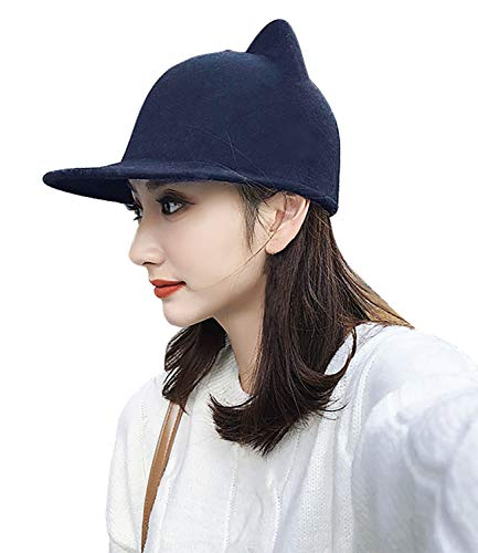 Bellady Women Cat Ear Woll Hat Baseball Hat Wide Brim Bowler Cap,Cat Ear Style_Navy]()
