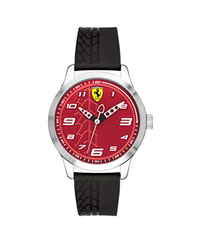 (Ferrari Boy's Pitlane Quartz Stainless Steel and Silicone Strap Casual Watch, Color: Black (Model: 840021))