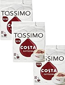 TASSIMO Costa Cappuccino x3 Packs, Total 48 T Discs Capsules by TASSIMO