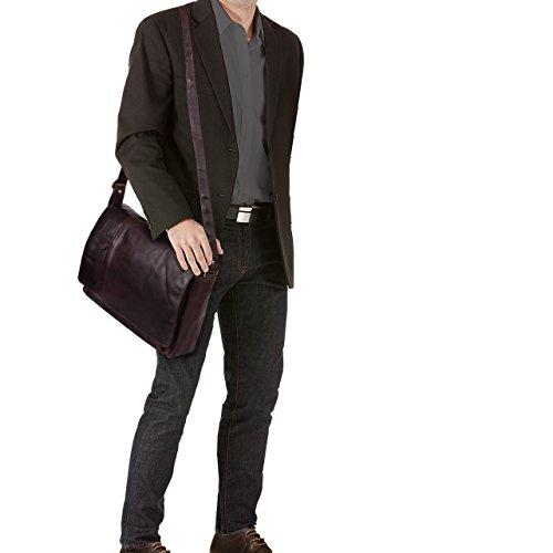 Stilord Borsa A Tracolla Notebook Bag College 15 6 Pollici Per Luniversità In Vera Pelle Marrone Ebano -