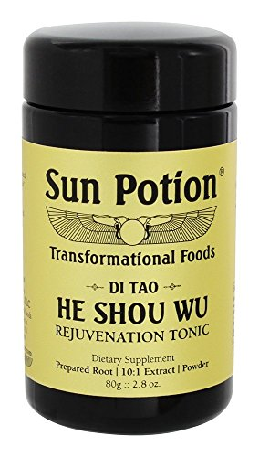 He Shou Wu 80g by Sun Potion - Fo-Ti Tonic, Certified Organic, 10:1 Extract Root Powder, Herbal Supplement, Superfood - Restore Hair Color, Immunity, Boost Energy, Stamina - Vegan Kosher Smoothie Blen (Hair Shou Wu)