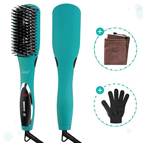 Hair Straightener Brush Straightening Brush Ceramic Iron Dual Voltage Negative Ions Temperature Control Auto Shut Off Fast Heating Anti-Scald for Women with Thick Hair