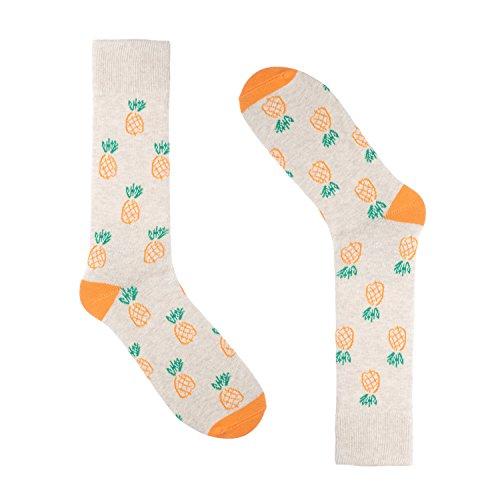 Pineapple Socks for Men - Dress Sock - Premium Cotton - Size 8-13 (One Pair) (Pineapple - Ca Outlets Los Angeles Premium