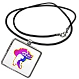 Pretty Girl in Purple and Blue wearing hat with Flowers Necklace With Pendant is a great gift item and a fun way to express your personality, while being fashionable. Features a rectangular pendant, crafted of Zinc Alloy, approximately 1 by 1 inch. S...
