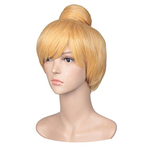 ColorGround Women's Short Blonde Cosplay Costume Wig with Bun