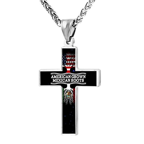 Hei Bai.J Cross Pendant Necklace American Grown With Mexican Christian Religious Jewelry For Men and Women