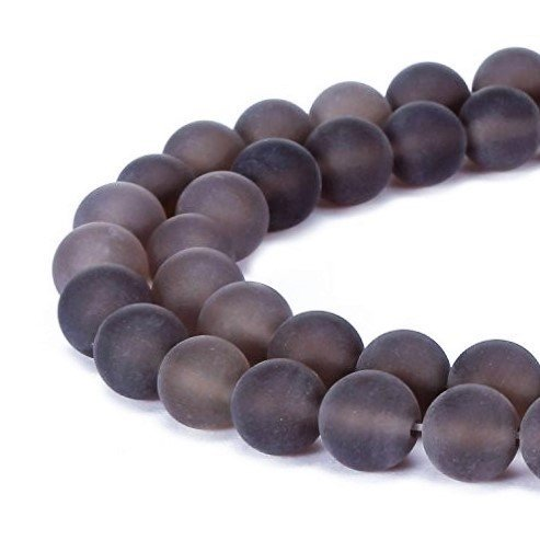 jennysun2010 Natural Matte Frosted Smoky Quartz Gemstone 8mm Round Loose 50pcs Beads 1 Strand for Bracelet Necklace Earrings Jewelry Making Crafts Design Healing