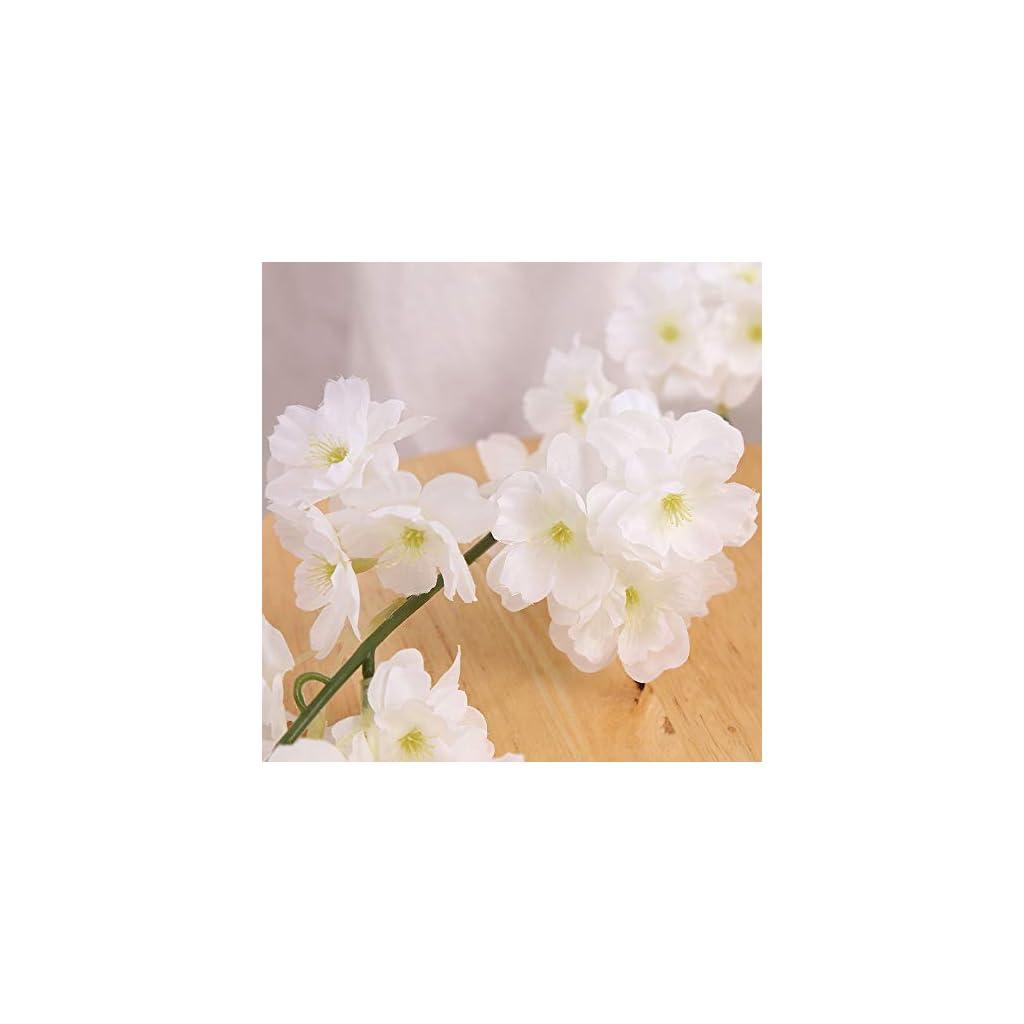 Idubai 4 Pack Artificial Cherry Blossom Flower Vines Hanging Fake Flowers Plants Silk Flowers Garland for Home Hotel Office Wedding Party Garden Craft Art Decor,5.9 Feet (White)