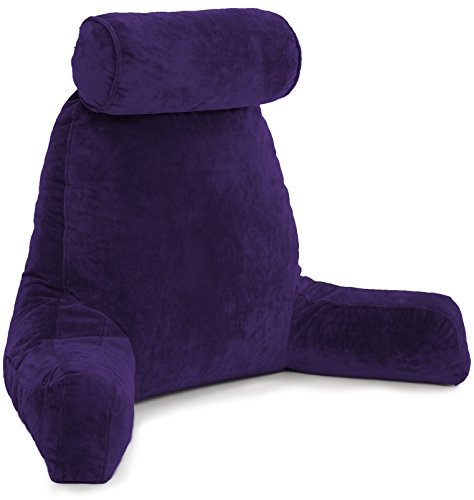 Husband Pillow - Big Bedrest Reading & Support Bed Backrest w/Arms, Purple - Premium Shredded Memory Foam with Detachable Neck Roll Pillow - Bed Rest Pillow Makes a Comfy & Therapeutic Cuddle Buddy