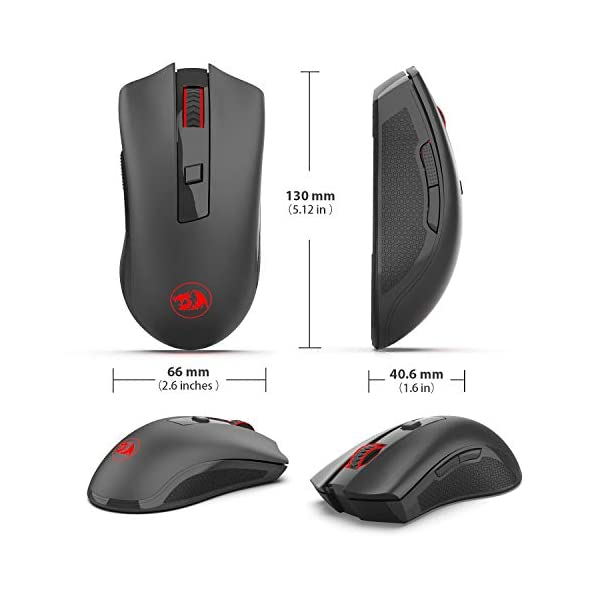 Redragon M652 Optical 2.4G Wireless Mouse with USB Receiver, Portable Gaming & Office Mice, 5 Adjustable DPI Levels, 6…