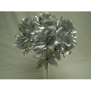 "4 Bushes SILVER Open Rose 7 Artificial Silk Flowers 15"" Bouquet 039SL 3"