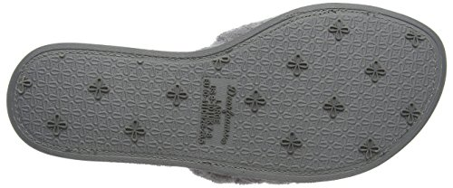 Dearfoams Women's Microfiber Quilted Terry Slide Open Back Slippers Grey (Medium Grey) DbwugIsK