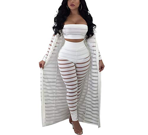 (Ophestin Women 3 Piece Outfits Tube Top Bodycon Pants Long Sleeve Mesh Cover Up Set White Size L)