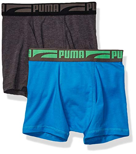 PUMA Underwear Big Boys' 2 Pack Tech Boxer Brief, Blue/Gray, Medium ()