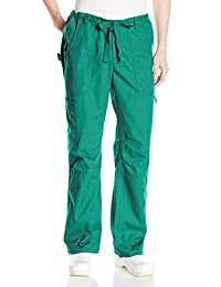 Koi Men's James Elastic-Waist Scrub Pants with Zip Fly and Drawstring Waist