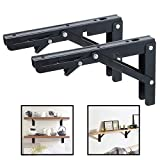 Folding Shelf Brackets - Heavy Duty Metal Collapsible Shelf Bracket for Bench Table, Shelf Hinge Wall Mounted Space Saving DIY Bracket, Max Load: 150 lb 2 PCS (10 In, Black)