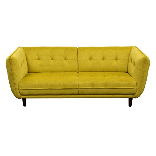 Venice Button Tuft Yellow Colored Fabric Sofa by Diamond Sofa