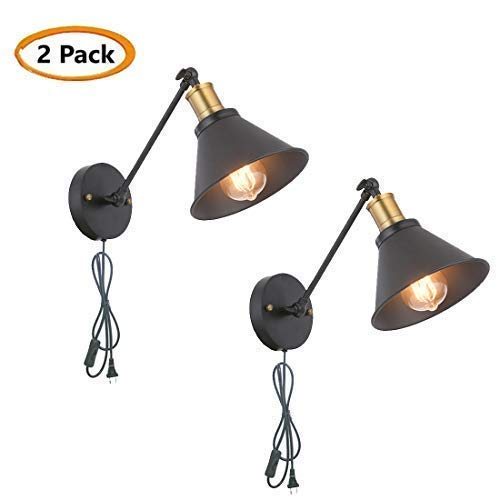 SEEBLEN Industrial Style Plug-in Wall Mounted Sconce Mini Adjustable Vintage Edison Simplicity Swing Arm Metal Wall Lamp Set of 2