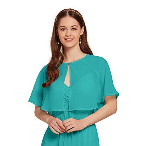 AW Women's Chiffon Cardigan Shrug Cover Up Wedding Cape Wrap Shawl Bolero Jacket for Bride, Turquoise, XL -