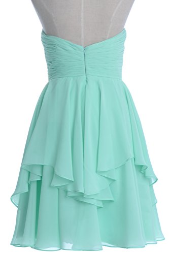 Women Short Dress Bridesmaid Wedding Dunkelgrun Cocktail Party MACloth Tiered Strapless dCqw5dX