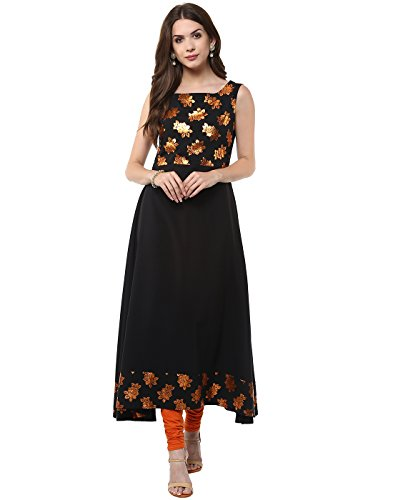 Janasya Indian Tunic Tops Crepe Kurti for Women (JNE1407-BLACK-KR-UDF18-L)