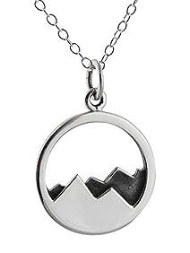 Sterling Silver Mountain Range Landscape Pendant Necklace, 18 Inch, Mountains Peaks