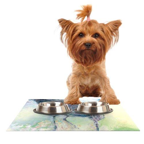 KESS InHouse Josh Serafin Feast  Green Yellow Feeding Mat for Pet Bowl, 18 by 13-Inch