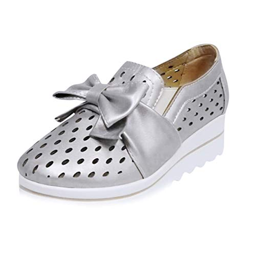Haalife◕‿¿Women Slip on Loafers Casual Comfort Suede Shoes Round Toe Hollow Out Wedge Platform Sneakers Silver