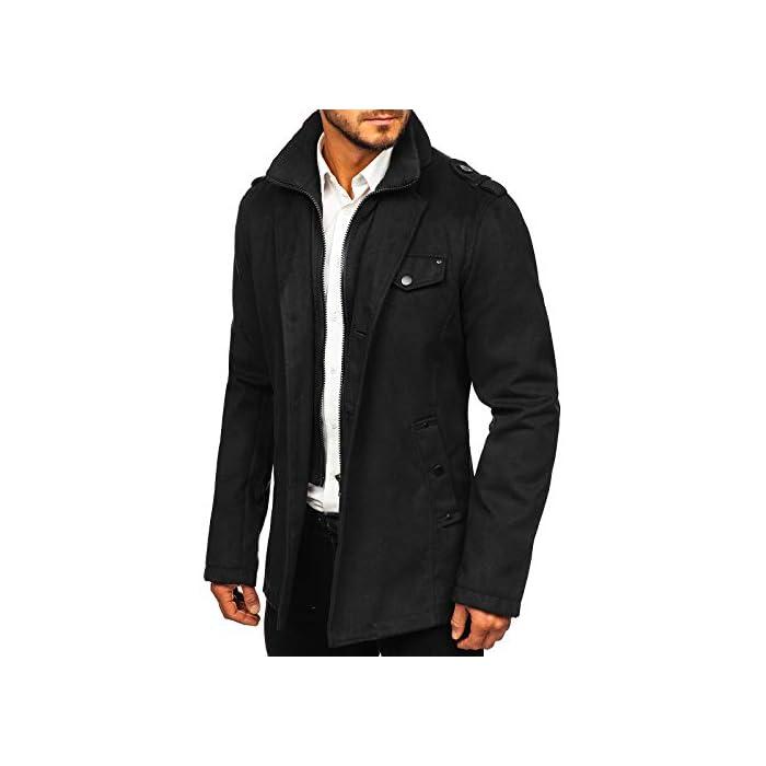 41qBgN5CGzL Abrigo de invierno acolchado para los hombres Una hilera de botones, con cierre de botones, el cuello inglés 100% De Poliéster