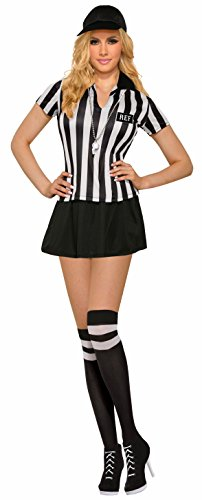 Forum Novelties Women's Referee Costume with Matching Knee Highs, Black/White, Standard -