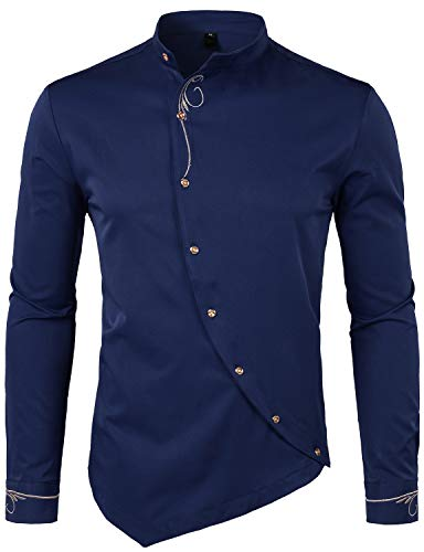 WHATLEES Mens Hipster Irregular Hem Slim Fit Long Sleeve Banded Collar Dress Shirts with Embroidery T21 Navy Blue Large