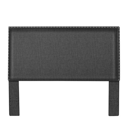 Fabric Linen Padded Upholstered Headboard for Queen / Full Size with Classic Nailhead Accent Design by Elegá Life - Slate Grey