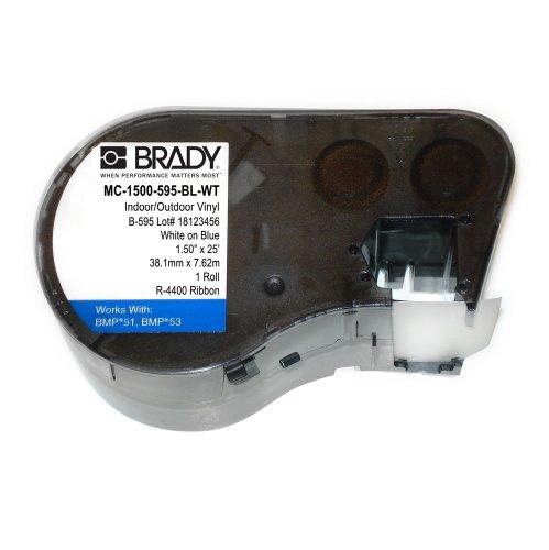 Brady MC-1500-595-BL-WT Vinyl B-595 White on Blue Label Maker Cartridge, 25' Width x 1-1/2