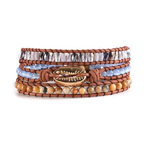 YGLINE Gold Shell Handmade Wrap Bracelet Natural Stone Beads Waist Bracelet (Shell)