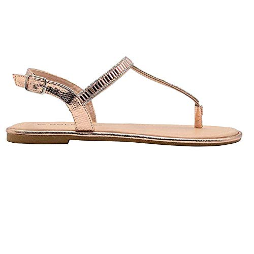 Gold Toe Ladies Fashion Sandals 8 M US Metallic Thong Slingback Summer Flats Rose Gold