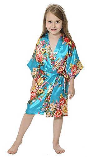 76c340243e5 JOYTTON Girl s Satin Floral Kimono Bathrobe Flower Girl Robe (14 ...