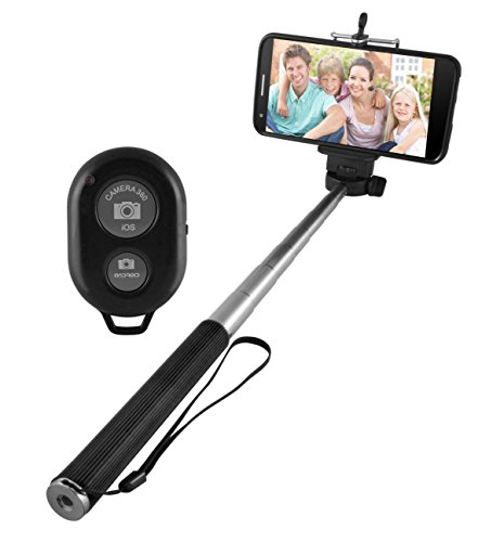 Ematic Extendable Selfie Stick with Wireless Remote with Bluetooth Shutter Release, Black