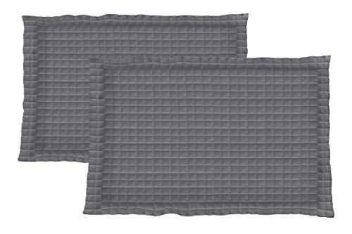 (La Vie Moderne Quilted 1800 Thread Count Microfiber Pillow Shams | Set of 2 | King/Gray )
