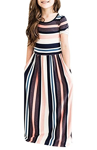 (Ofenbuy Girls Maxi Dresses Summer Short Sleeve Striped Empire Waist Long Dress with Pockets (X-Large, Black))
