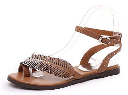 Brown chancletas post correas mujeres verano Ronda Beach planos sandalias zapatos las los de abiertos de YEEY pies para BUwSqTnnO