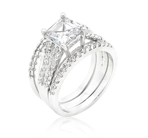 Beloved Sparkles - Hana 4ct CZ Princess Cut Engagement and Wedding Three Ring Set Ring (8) from Beloved Sparkles