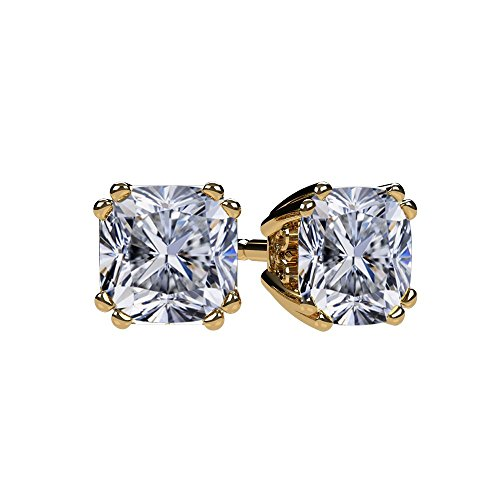 Gold Plated Earrings Solid (NANA Cushion Cut Swarovski CZ Stud Earrings Silver & 14k Solid Gold Post- 5mm-1.20cttw-Yellow Gold Plated)