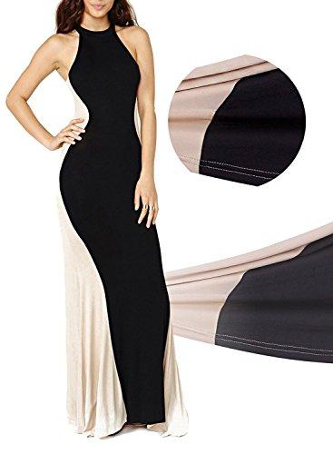 Black and white evening maxi dresses