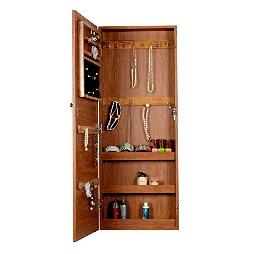 Oak Wall Mount Cabinet (Organizedlife Oak Wall Mount Over the Door Jewelry Cabinet Armoire with Glass Mirror)