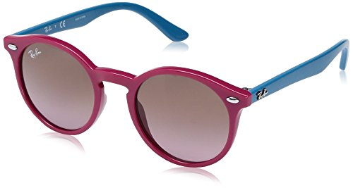 Ray-Ban Kids' Injected Unisex Round Sunglasses, Fuxia, 44 - Bans Red Ray Sunglasses