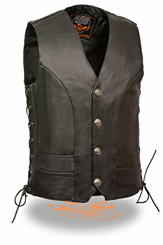Milwaukee Leather Men's Premium Side Lace Leather Vest w/ Buffalo Snaps (Black, 48) Leather Naked Buffalo
