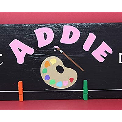 Personalized Look What I Made Sign, Custom Kid Artwork Display Hanger, Kid's Room Decorations, Children Art Holder Wood Sign Kids Gifts: Handmade