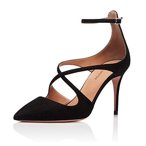 Alla Scamosciato Dance Caviglia TLJ Cinturino Aggiornamento Pole Altissimo 8111 Black KJJDE Tacco Sexy Donna Tacco Sexy Alto 38 Elegante Con z8XxWqTvw